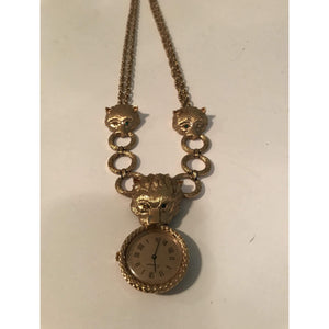 Vintage 3 Lion Head Norman Watch Necklace with Twisted Link chain