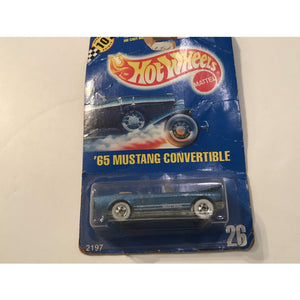 1990 Hot Wheels Blue Card #26 '65 Mustang Convertible In Blue W/ Whitewall Tires - Annzstiques