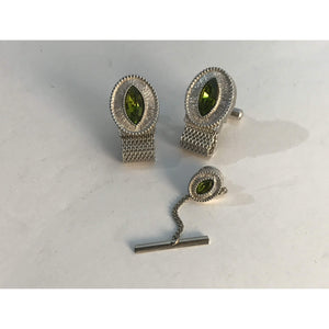 Vintage Cuff Links & Tie Pin Silver Tone Metal Mesh Wrap Around, With Green Oval Stone Swank