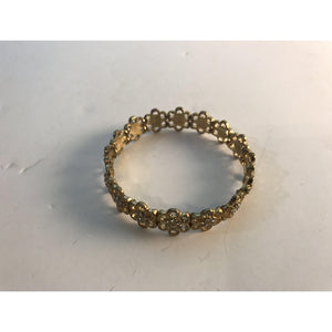 Vintage GOLD TONE Bangle Bracelet with Diamonds