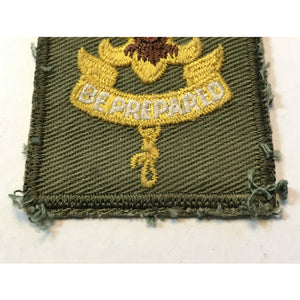 BE PREPARED PATCH Dark Olive Green Vtg Boy Scouts Of America Cloth Patch Badge - Annzstiques