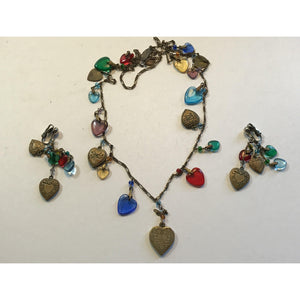 G.W.S. Glass Works Studio Earring-Necklace set-RARE FIND! - Annzstiques