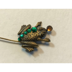 Vintage rhinestone and gold-tone frog brooch pin