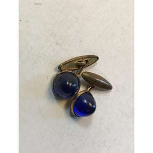 Nice Vintage 40's Art Deco Blue Lucite Cuff Links