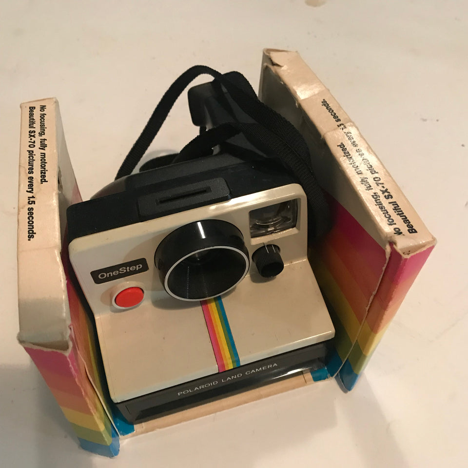 MINT- Polaroid SX-70 One Step Rainbow Instant Film Land Camera With Box