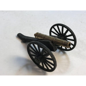 "Vintage Small Cast Iron Toy Cannon 2-5/8"" long Barrel 5.2 Oz wheels 2"" Diameter"