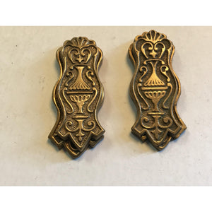 Pair Of Vintage Solid Brass Ornate Victorian Style Door Knob Plates Keyhole
