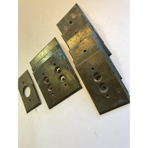 Lot of 10 Vintage Perkins Pat. 1901 Patina Brass Gang Push Button Switch Plate Covers - Annzstiques