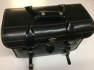 Vintage Camera Case Black Cowhide Leather Bag.