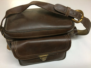 Vintage 50s/60s Camera Case Brown Cowhide Leather Bag