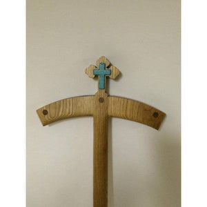 Orthodox Turquoise Crosier with Cross Solid Oak with Turquoise with holder