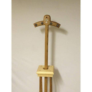 Bishops Magenta staff with rosettes and diamond Cross Oak wood with stand - Annzstiques