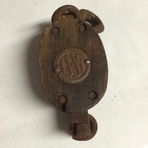 Vintage UW Double Pulley Wood Block and Tackle Number 3