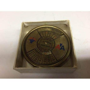 Vintage 1969 Fair Ladies American Airlines 50 Year Brass Paperweight Calendar