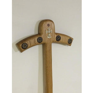 Bishop's Magenta style Crosier with rossetts and diamond Cross Solid Oak wood. - Annzstiques