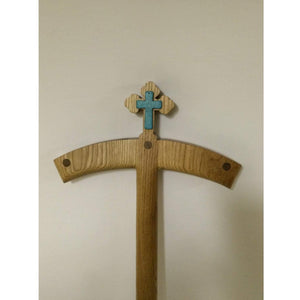 Orthodox Turquoise Crosier with Cross Solid Oak