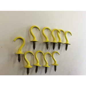 "10 pcs Vintage Yellow Hardware Cup Hooks 7/8"" jewelery hooks key hooks - Annzstiques"