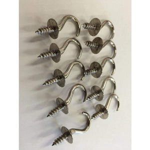 "50 Vintage Chrome Hardware Cup Hooks 7/8"" jewelry hooks key hooks - Annzstiques"