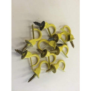 "100 pcs Vintage Yellow Hardware Safety Cup Hooks 7/8"" jewelery hooks key hooks - Annzstiques"