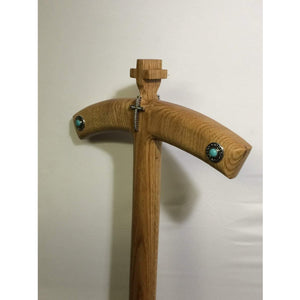Bishop's Turquoise style Crosier with nickel and diamond Cross Solid Oak wood. - Annzstiques