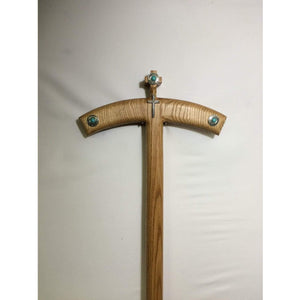 "Orthodox Bishop's staff and stand Turquoise Crosier with nickel and diamond Cross Solid Oak wood. Size: 12''x 59"" Crosier with stand"