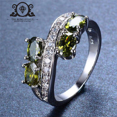 August New Fashion Peridot Birthstone Ring (White Gold Filled)