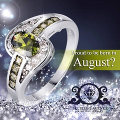 August Birthstone Peridot Oval Olive Green Zircon Ring