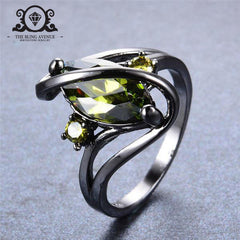 August Birthstone Cute Olive Green Zircon Ring (Black Gold Filled)