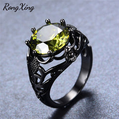 August Birthstone Vintage Black Gold Filled Peridot Zircon Ring