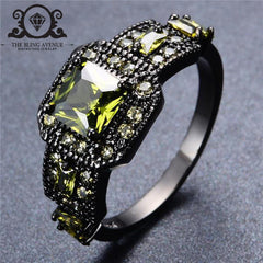 August Square Cut Olive Green Zircon Ring