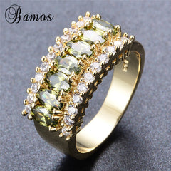 Elegant Olive Green Cubic Zirconia August Birthstone Ring