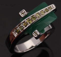 August Cuboid Green Stones Peridot Ring