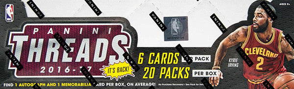 2016-17 Panini Threads Hobby Basketball Box (Plus 2 Panini Day Bonus Packs)