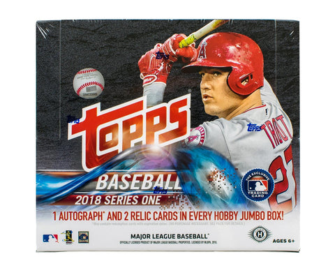 2018 Topps Series 1 HTA Jumbo Baseball Hobby Box (Plus 2 Bonus Silver Packs)