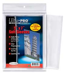 Ultra Pro 5x7 Soft Sleeves 100ct/Pack
