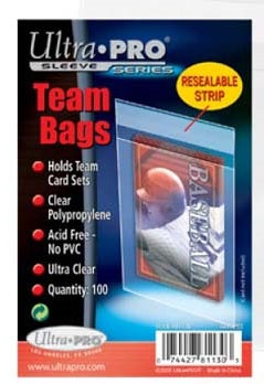 Ultra Pro Team Bags Resealable Sleeves 100ct/pack