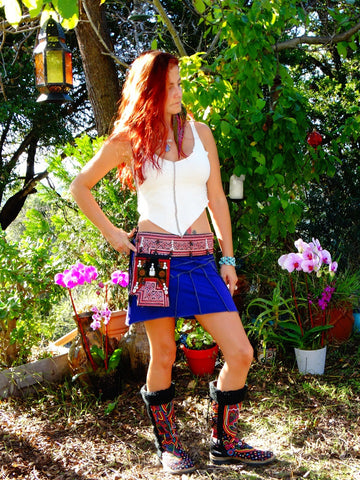 Tribal Hipster Belt with Pockets - Demeter