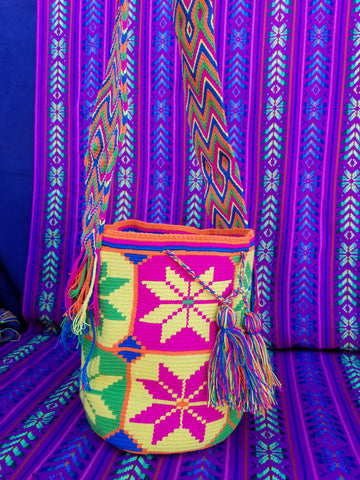 Tribal Hand Woven Vegan Bucket Bag - Malinalda