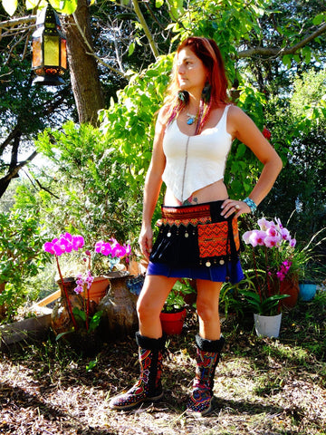Tribal Hipster Belt/Skirt with Pockets - Metis