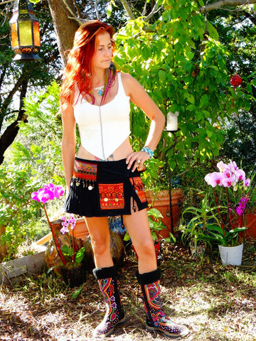 Tribal Hipster Belt/Skirt with Pockets - Nix