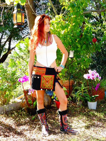 Tribal Hipster Belt/Skirt with Pockets - Electra