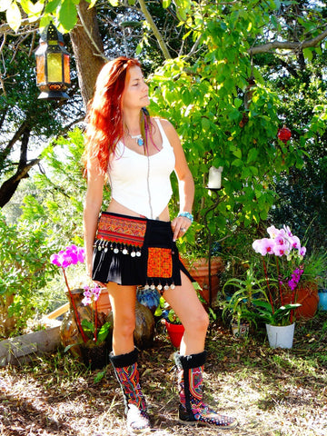 Tribal Hipster Belt/Skirt with Pockets - Merope