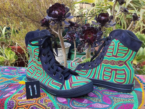High-top Mola Shoes - Size 11 - Green Tara