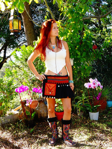 Tribal Hipster Belt/Skirt with Pockets - Julieta