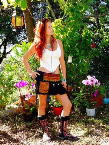 Tribal Hipster Belt/Skirt with Pockets - Alcyone