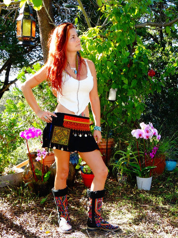 Tribal Hipster Belt/Skirt with Pockets - Atlantis