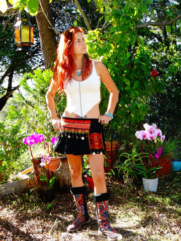Tribal Hipster Belt/Skirt with Pockets - Omaira