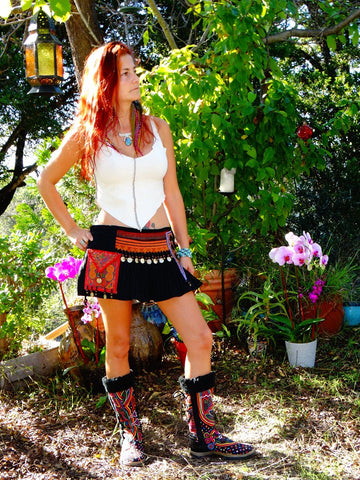 Tribal Hipster Belt/Skirt with Pockets - Portia