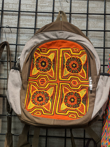 Tribal Textile Vegan Mola Backpack - Flora