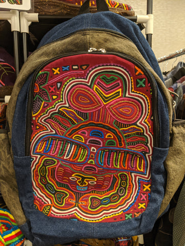 Tribal Textile Vegan Mola Backpack - Galactic Crab
